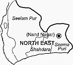North East Delhi District  Map . Surrounded by North Delhi District ,Central Delhi District ,Delhi District , .