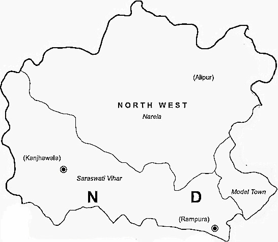 North West Delhi District  Map . Surrounded by North Delhi District ,West Delhi District ,North East Delhi District , .