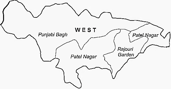 West Delhi District  Map . Surrounded by Central Delhi District ,Delhi District ,North Delhi District , .