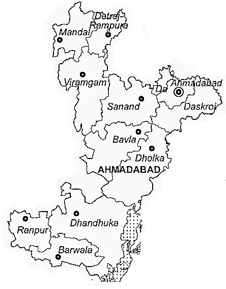 Ahmadabad District  Map . Surrounded by Gandhinagar District ,Kheda District ,Anand District , .