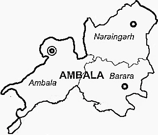 Ambala District  Map . Surrounded by Panchkula District ,S.A.S Nagar District ,Patiala District , .