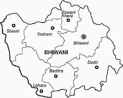 Bhiwani District  Map . Surrounded by Rohtak District ,Jhajjar District ,Hisar District , .
