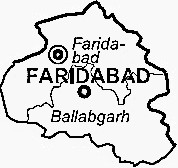 Faridabad District  Map . Surrounded by South Delhi District ,East Delhi District ,Gautam Buddha Nagar District , .