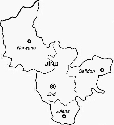 Jind District  Map . Surrounded by Rohtak District ,Kaithal District ,Hisar District , .