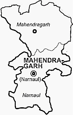 Mahendragarh District  Map . Surrounded by Rewari District ,Jhunjhunu District ,Alwar District , .