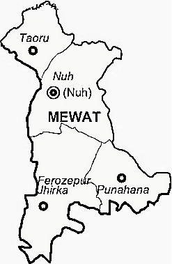 Mewat District  Map . Surrounded by Palwal District ,Gurgaon District ,Rewari District , .