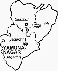 Yamunanagar District  Map . Surrounded by Saharanpur District ,Kurukshetra District ,Sirmaur District , .