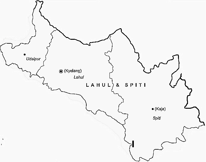 Lahul And Spiti District  Map . Surrounded by Kullu District ,Kangra District ,Chamba District , .