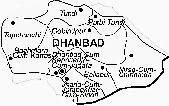 Dhanbad District  Map . Surrounded by Jamtara District ,Giridih District ,Bokaro District , .