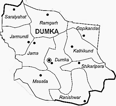 Dumka District  Map . Surrounded by Birbhum District ,Jamtara District ,Deoghar District , .