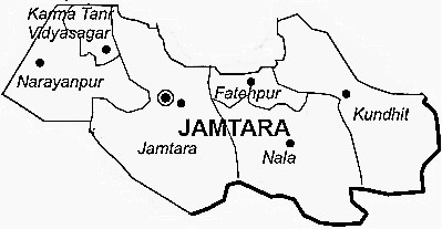 Jamtara District  Map . Surrounded by Dhanbad District ,Dumka District ,Giridih District , .
