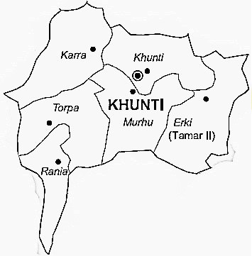 Khunti District  Map . Surrounded by Ranchi District ,Ramgarh District ,Lohardaga District , .