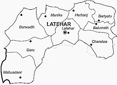 Latehar District  Map . Surrounded by Lohardaga District ,Palamu District ,Chatra District , .