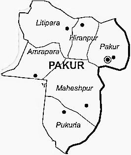 Pakur District  Map . Surrounded by Maldah District ,Murshidabad District ,Godda District , .