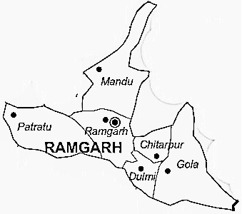 Ramgarh District  Map . Surrounded by Ranchi District ,Hazaribagh District ,Bokaro District , .