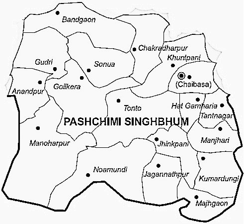 West Singhbhum District  Map . Surrounded by Saraikela Kharsawan District ,East Singhbum District ,Khunti District , .