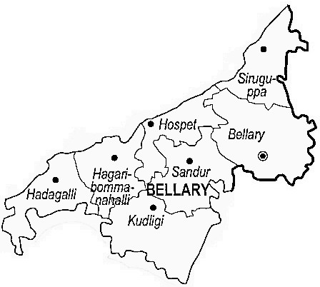 Bellary District  Map . Surrounded by Koppal District ,Anantapur District ,Chitradurga District , .