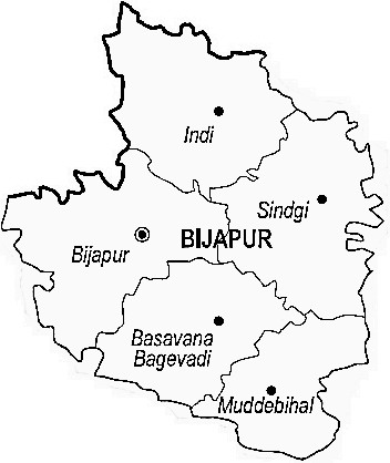 Bijapur District District  Map . Surrounded by Bagalkot District ,Solapur District ,Sangli District , .