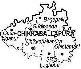 Chikballapur District  Map . Surrounded by Bangalore Rural District ,Bangalore District ,Kolar District , .