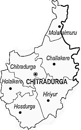 Chitradurga District  Map . Surrounded by Davangere District ,Shimoga District ,Bellary District , .