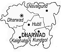 Dharwad District  Map . Surrounded by Gadag District ,Belgaum District ,Haveri District , .