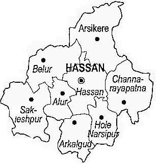 Hassan District  Map . Surrounded by Chikmagalur District ,Kodagu District ,Mysore District , .