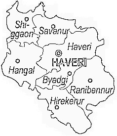 Haveri District  Map . Surrounded by Davangere District ,Gadag District ,Dharwad District , .