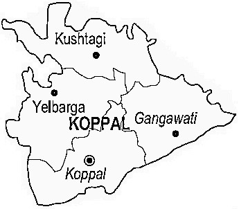 Koppal District  Map . Surrounded by Gadag District ,Bellary District ,Haveri District , .