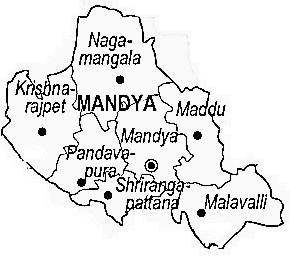 Mandya District  Map . Surrounded by Mysore District ,Ramanagara District ,Chamarajanagar District , .