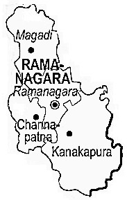 Ramanagara District  Map . Surrounded by Bangalore District ,Mandya District ,Tumkur District , .