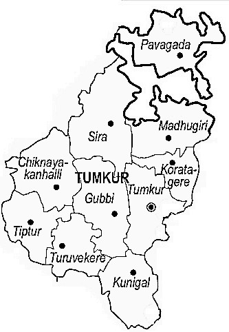 Tumkur District  Map . Surrounded by Bangalore Rural District ,Ramanagara District ,Bangalore District , .