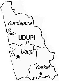 Udupi District  Map . Surrounded by Dakshin Kannad District ,Kasaragod District ,Shimoga District , .