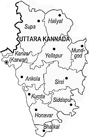 Uttar Kannad District  Map . Surrounded by South Goa District ,North Goa District ,Dharwad District , .