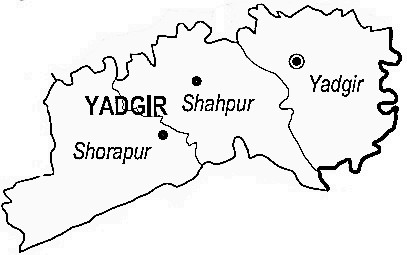 Yadgir District  Map . Surrounded by Raichur District ,Gulbarga District ,Mahbubnagar District , .