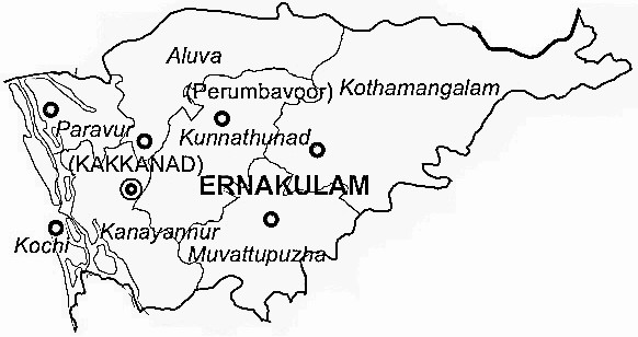 Ernakulam District  Map . Surrounded by Kottayam District ,Alappuzha District ,Thrissur District , .