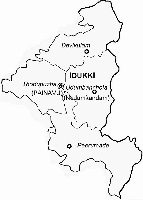 Idukki District  Map . Surrounded by Kottayam District ,Theni District ,Pathanamthitta District , .