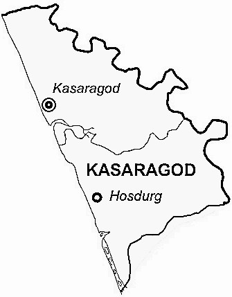 Kasaragod District  Map . Surrounded by Dakshin Kannad District ,Kodagu District ,Kannur District , .