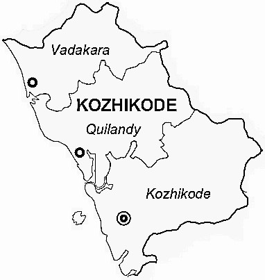 Kozhikode District  Map . Surrounded by Malappuram District ,Wayanad District ,Kannur District , .
