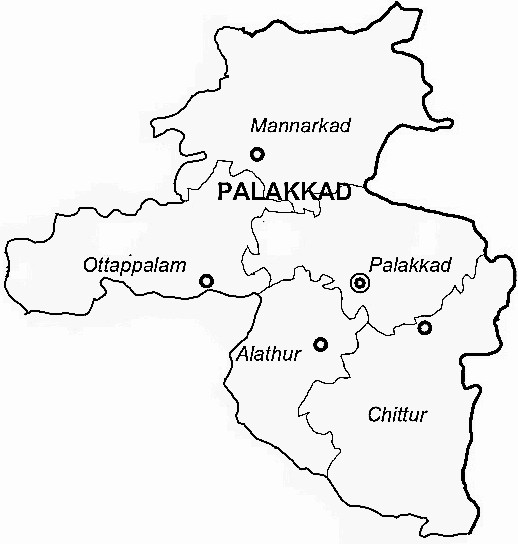 Palakkad District  Map . Surrounded by Coimbatore District ,Thrissur District ,The Nilgiris District , .