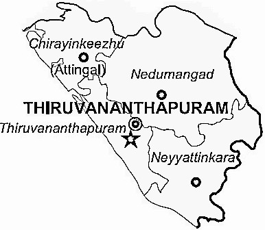 Thiruvananthapuram District  Map . Surrounded by Kollam District ,Kanniyakumari District ,Tirunelveli District , .