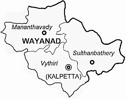 Wayanad District  Map . Surrounded by Kozhikode District ,The Nilgiris District ,Malappuram District , .