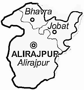 Alirajpur District  Map . Surrounded by Jhabua District ,Dohad District ,Barwani District , .