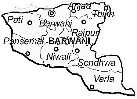 Barwani District  Map . Surrounded by Alirajpur District ,Khargone District ,Dhar District , .
