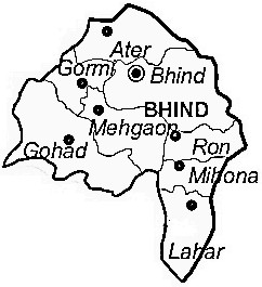Bhind District  Map . Surrounded by Etawah District ,Jalaun District ,Auraiya District , .