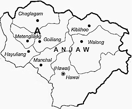 Anjaw District  Map . Surrounded by Lohit District ,Lower Dibang Valley District ,Dibang Valley District , .