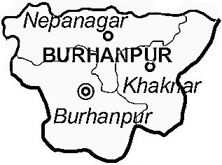 Burhanpur District  Map . Surrounded by East Nimar District ,Jalgaon District ,Buldhana District , .