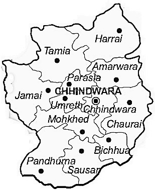 Chhindwara District  Map . Surrounded by Seoni District ,Narsinghpur District ,Nagpur District , .
