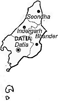 Datia District  Map . Surrounded by Jhansi District ,Gwalior District ,Shivpuri District , .