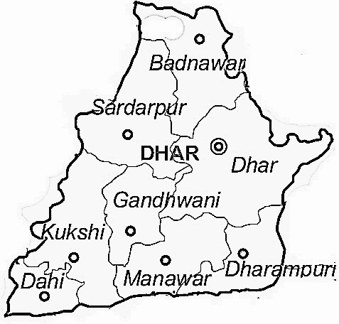 Dhar District  Map . Surrounded by Indore District ,Barwani District ,Jhabua District , .