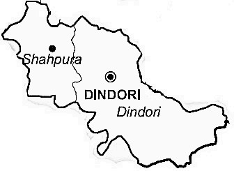 Dindori District  Map . Surrounded by Shahdol District ,Anuppur District ,Umaria District , .